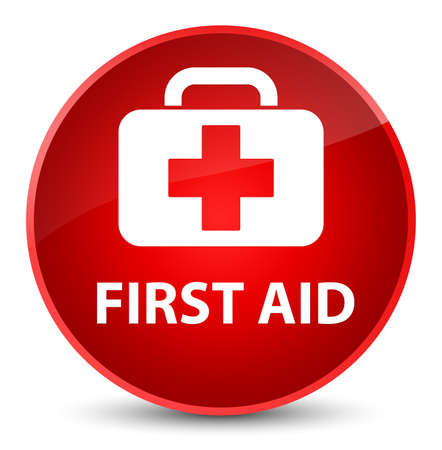 First aid isolated on elegant red round button abstract illustration Stock Photo