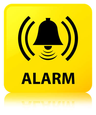 Alarm (bell icon) isolated on yellow square button reflected abstract illustration