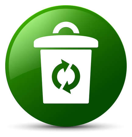 Trash icon isolated on green round button abstract illustration Stock Photo