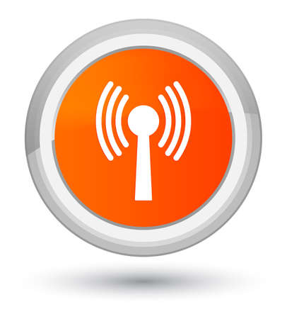 Wlan network icon isolated on prime orange round button abstract illustration