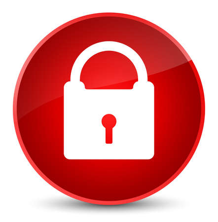 Padlock icon isolated on elegant red round button abstract illustration