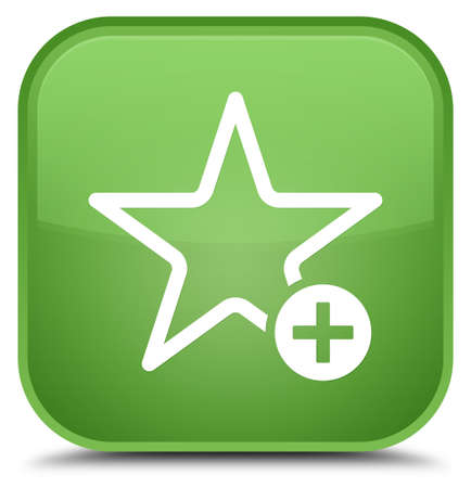 Add to favorite icon isolated on special soft green square button abstract illustration Stock Photo