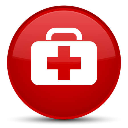 Medical bag icon isolated on special red round button abstract illustration Zdjęcie Seryjne - 88645143