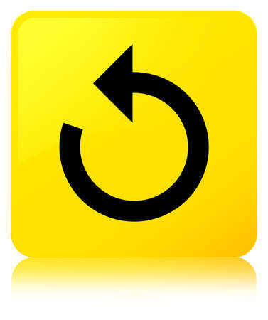 Refresh arrow icon isolated on yellow square button reflected abstract illustration