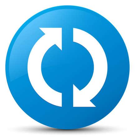 シアン ブルーの丸いボタンの抽象的なイラストに分離されたアイコンを更新します。
