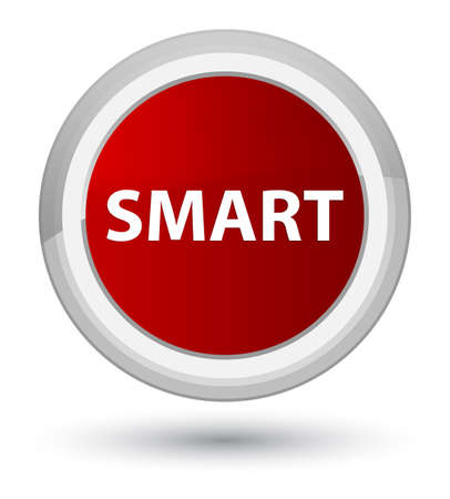 Smart isolated on prime red round button abstract illustration Imagens