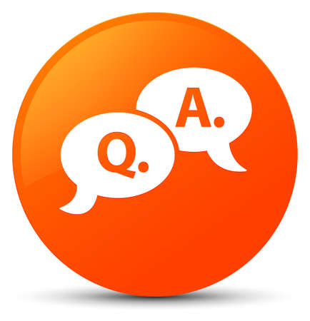 Question answer bubble icon isolated on orange round button abstract illustration Stock Photo