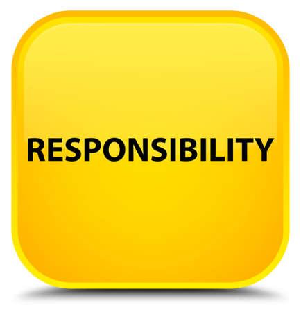 Verantwoordelijkheid op speciale gele vierkante knoop abstracte illustratie die wordt geïsoleerd Stockfoto