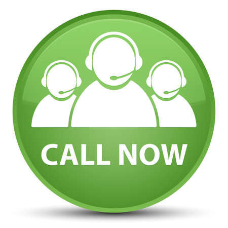 representative: Call now (customer care team icon) isolated on special soft green round button abstract illustration Stock Photo