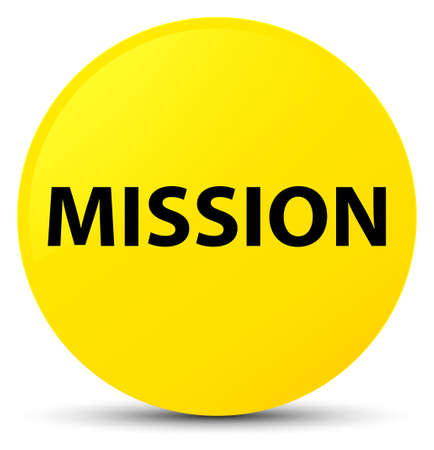 Mission isolated on yellow round button abstract illustration Stock Photo