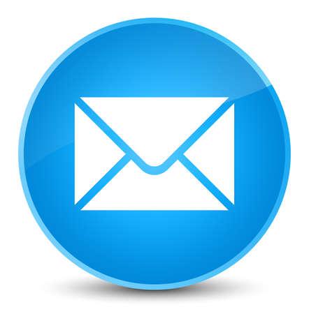 エレガントなシアン ブルーの丸いボタンの抽象的なイラストに分離された e メール ・ アイコン