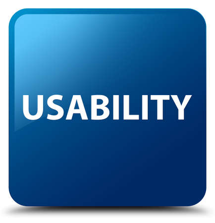 Usability isolated on blue square button abstract illustration Stock Photo