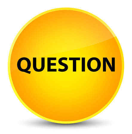 Question isolated on elegant yellow round button abstract illustration