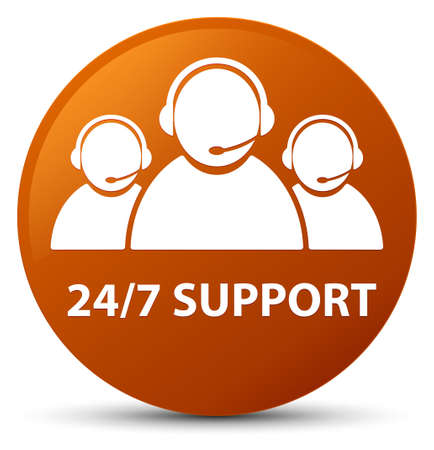 247 Support (customer care team icon) isolated on brown round button abstract illustration