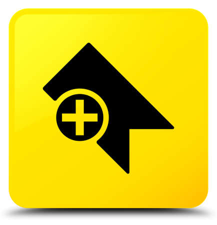 Bookmark icon isolated on yellow square button abstract illustration