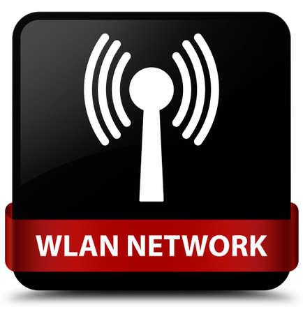 Réseau Wlan isolé sur un bouton carré noir avec ruban rouge dans l'illustration abstraite du milieu Banque d'images - 88645502