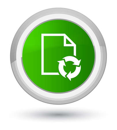 Document process icon isolated on prime green round button abstract illustration Stock Photo