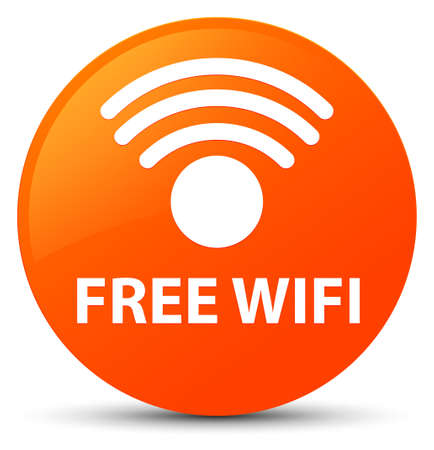 Free wifi isolated on orange round button abstract illustration