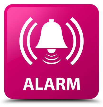 Alarm (bell icon) isolated on pink square button abstract illustration