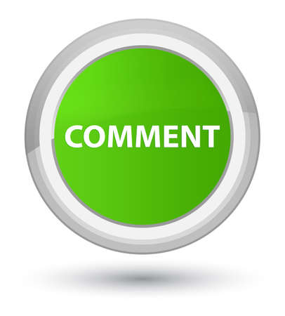 Comment isolated on prime soft green round button abstract illustration Reklamní fotografie