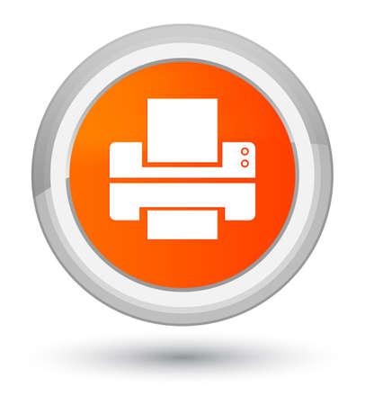 Printer icon isolated on prime orange round button abstract illustration