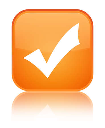 Validation icon isolated on special orange square button reflected abstract illustration