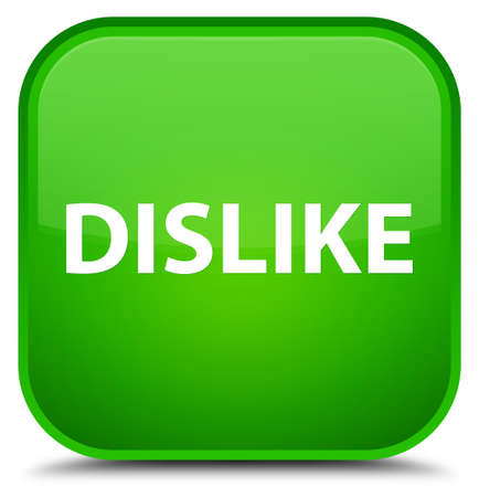Dislike isolated on special green square button abstract illustration