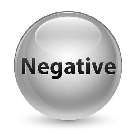 Negative isolated on glassy white round button abstract illustration Stock Photo