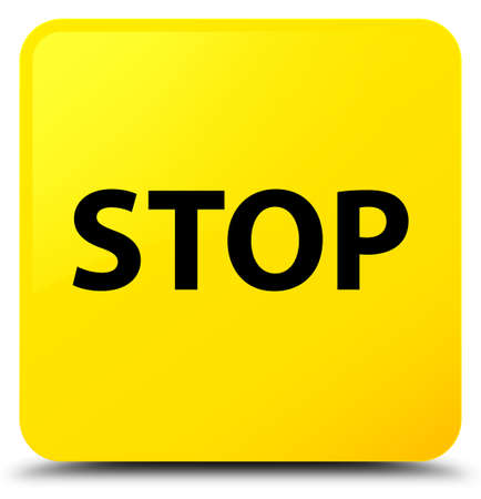 Stop isolated on yellow square button abstract illustration Stock Photo