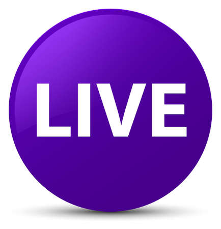 Live isolated on purple round button abstract illustration