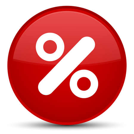percentage: Discount icon isolated on special red round button abstract illustration