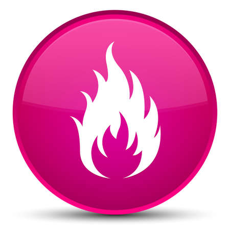Fire icon isolated on special pink round button abstract illustration