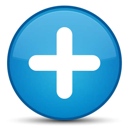 Plus icon isolated on special cyan blue round button abstract illustration