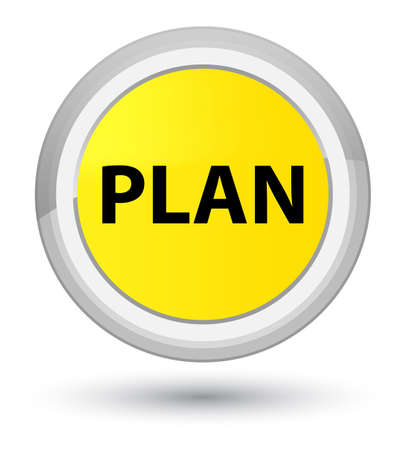 Plan isolated on prime yellow round button abstract illustration