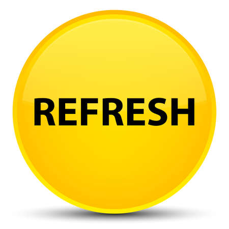 Refresh isolated on special yellow round button abstract illustration