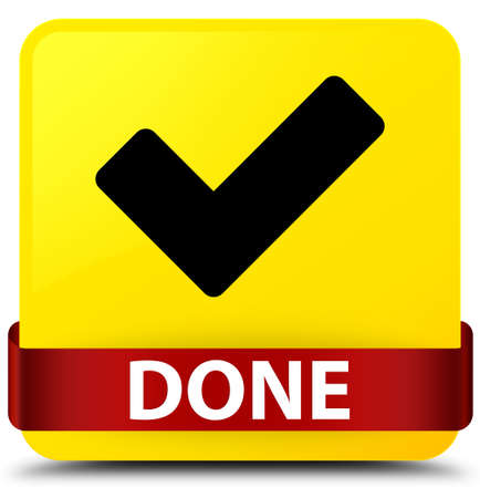 Done (validate icon) isolated on yellow square button with red ribbon in middle abstract illustration