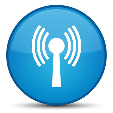 Wlan network icon isolated on special cyan blue round button abstract illustration Stock Photo