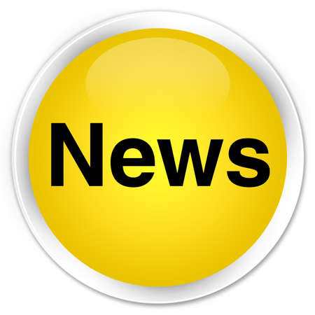 bulletin: News isolated on premium yellow round button abstract illustration