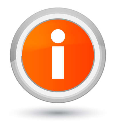 Info icon isolated on prime orange round button abstract illustration