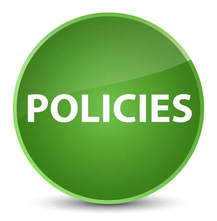 Policies isolated on elegant soft green round button abstract illustration