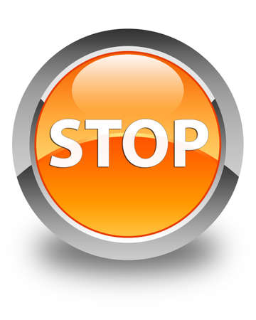 Stop isolated on glossy orange round button abstract illustration Stock Photo