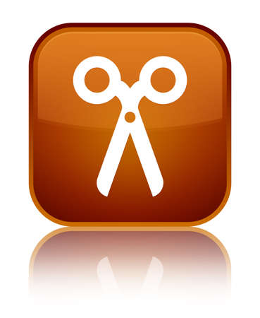 Scissors icon isolated on special brown square button reflected abstract illustration
