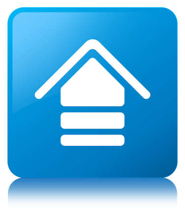Upload icon isolated on cyan blue square button reflected abstract illustration Stock Photo