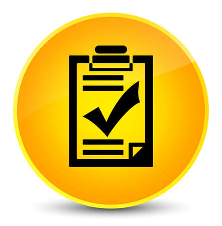 Checklist icon isolated on elegant yellow round button abstract illustration