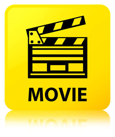 Movie (cinema clip icon) isolated on yellow square button reflected abstract illustration