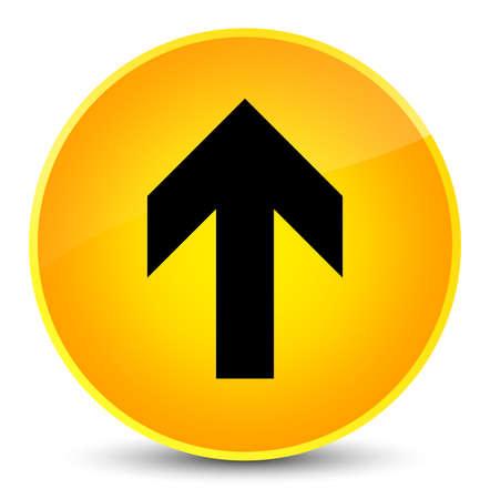 Upload arrow icon isolated on elegant yellow round button abstract illustration