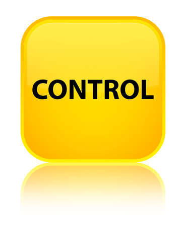 Control isolated on special yellow square button reflected abstract illustration