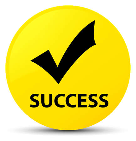 Success (validate icon) isolated on yellow round button abstract illustration Stock Photo