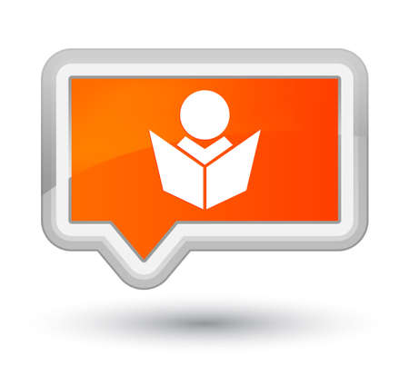 Elearning icon isolated on prime orange banner button abstract illustration