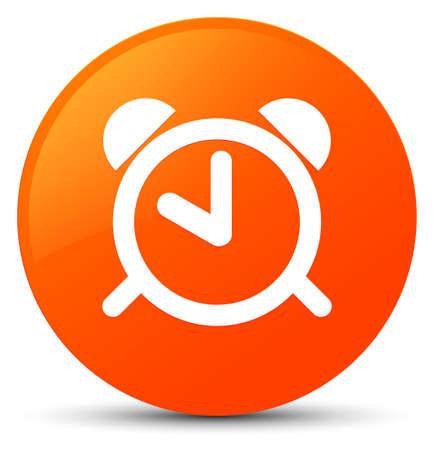 Alarm clock icon isolated on orange round button abstract illustration Stock Photo